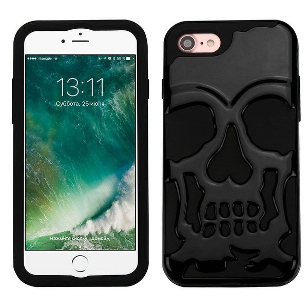 Insten Skullcap Hard PC/ Silicone Dual Layer Hybrid Rubberized Matte Case Cover For Apple iPhone 7