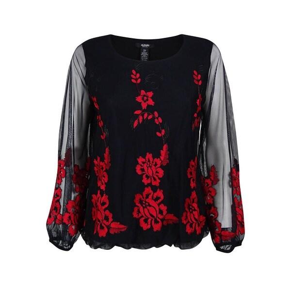 Alfani Women's Embroidered Bubble-Hem Top - pm
