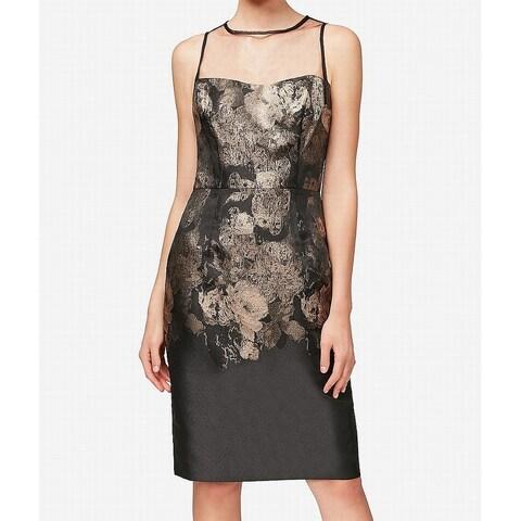 Betsey Johnson Black Womens Size 6 Shimmer Floral Sheath Dress