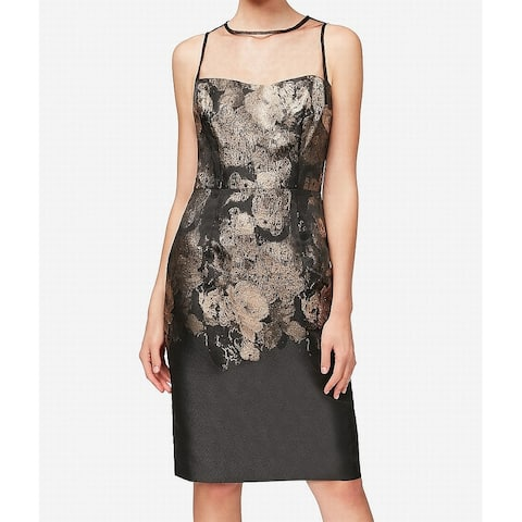 8beef0a986 Betsey Johnson Black Womens Size 6 Shimmer Floral Sheath Dress