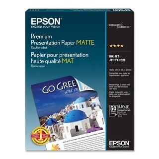 "Epson Presentation Paper - Letter - 8.50"" x 11"" - 44 lb Basis Weight - Matte - 103 Brightness - 50 / Pack - White - Bright White"