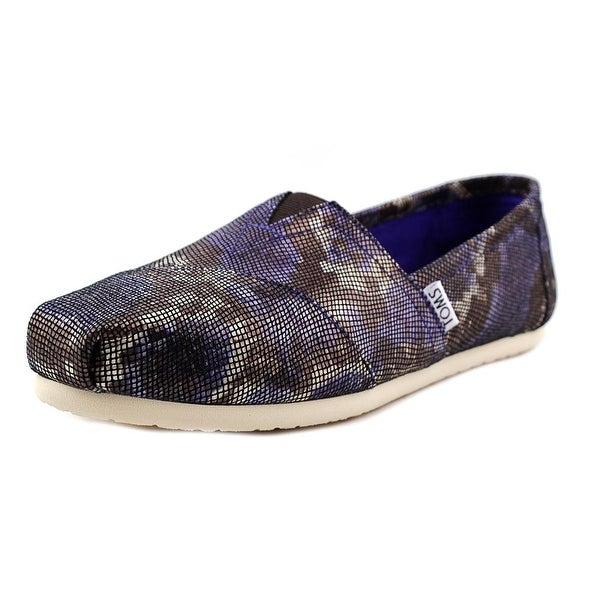 Toms Classic Women  Round Toe Leather Blue Flats