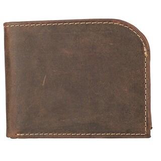 CTM® Men's Hunter Leather Distressed Front Pocket C-Fold Wallet - One size