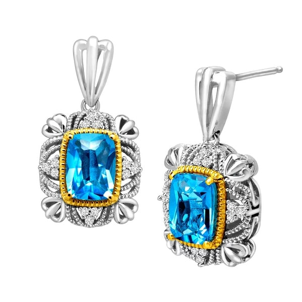 3 1/3 ct Natural Swiss Blue Topaz and 1/10 ct Diamond Drop Earrings in Sterling Silver and 14K Gold