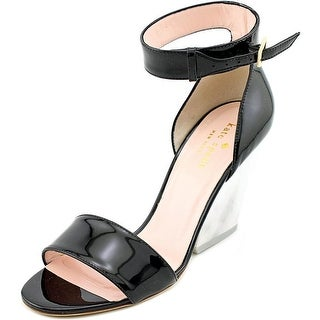 Kate Spade Indiana Women Open Toe Patent Leather Black Wedge Sandal