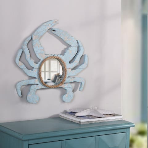 StyleCraft Weathered Crab Blue Crab Outline with Center Round Mirror and Natural Rope Detail