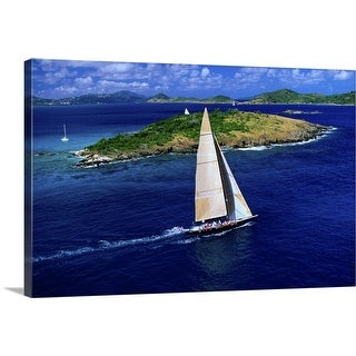 """""""The Americas Cup challenger, 'Stars and Stripes' practices off St John"""" Canvas Wall Art"""