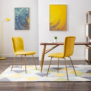Link to Art-Leon Modern Velvet Fabric Dining Chairs Set of 2 with Golden Legs Similar Items in Home Office Furniture