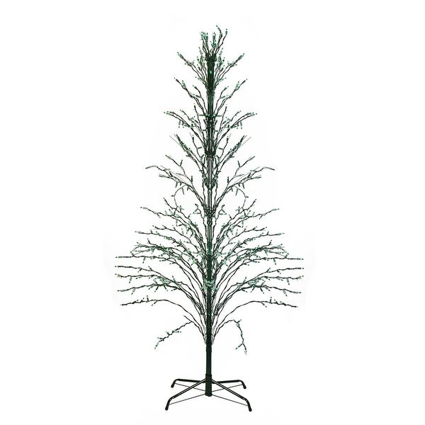 4' Green Lighted Christmas Cascade Twig Tree Outdoor Decoration - Green Lights