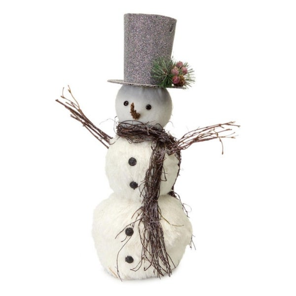 Pack of 2 White and Silver Friendly Snowman with Glitter Top Hat Christmas Decoration 18""