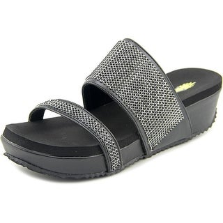 Volatile Pixies Women Open Toe Synthetic Black Wedge Sandal