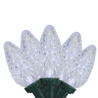 Set of 15 LED Light Show C9 Crystal White Christmas Lights - Green Wire