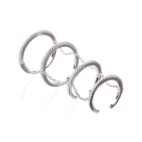 Cubic Zirconia & Sterling Silver Stackable Ring Set