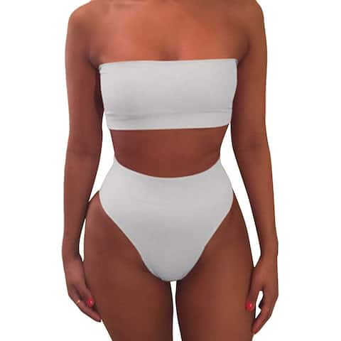 Pink Queen Women's Removable Strap Pad High Waist Bikini Set, White, Size Large