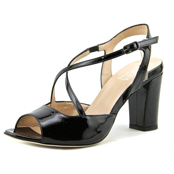 1,618 5216 Women Open-Toe Patent Leather Black Slingback Heel
