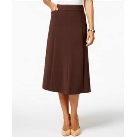 Charter Club Women's Two-pocket Seamed A-line Skirt Rich Truffle (6)