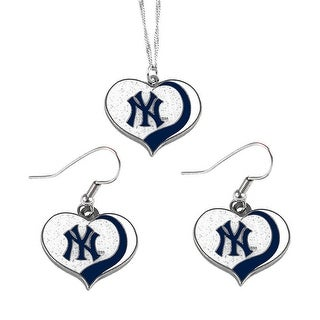 New York Yankees  MLB Glitter Heart Necklace and Earring Set Charm Gift