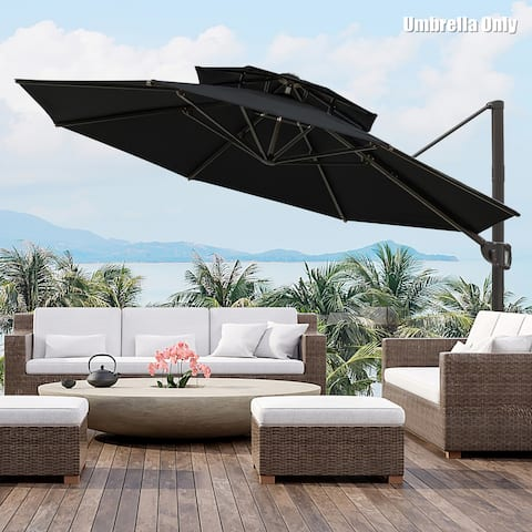 11.5 Ft Outdoor Round Cantilever Umbrella, Base Not Included