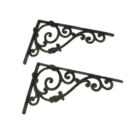 Rustic Brown Cast Iron Scroll Wall Shelf Bracket Set of 2 - 8 X 12.5 X 2 inches
