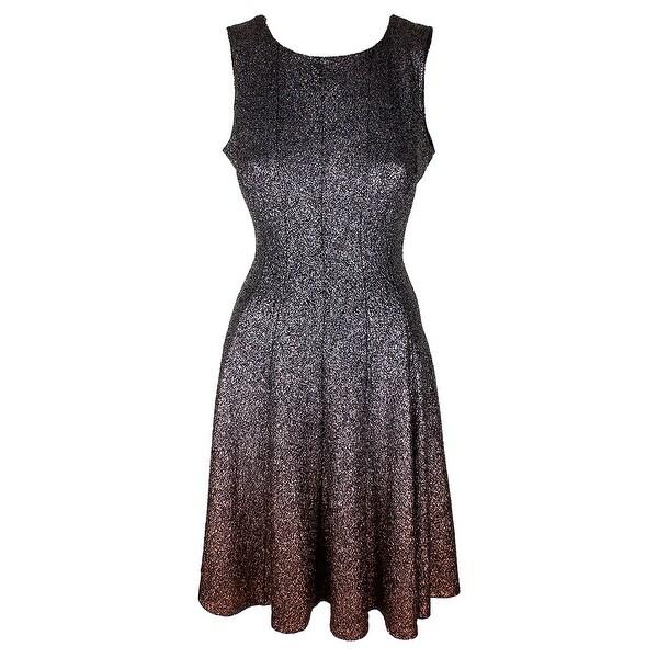 Shop Msk Silver Copper Glitter Sleeveless Ombre Shine Fit Flare ... 222a0827ef38