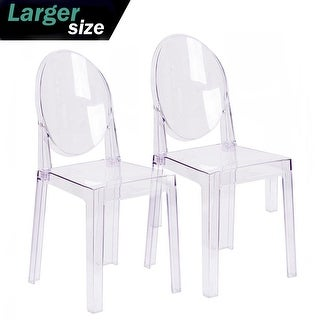 2xhome Set Of 2 Larger Clear Chair Plastic Chair Designer Armless Side Chair  Transparent Crystal Modern