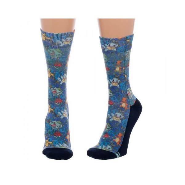 Pokemon Floral Juniors Sublimated Crew Socks (9-11, Multicolor)