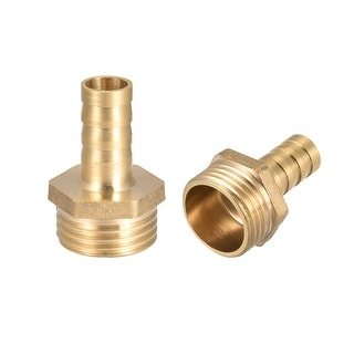 "Brass Barb Hose Fitting Connector Adapter 10 mm Barbed x 1/2"" G Male Pipe 2Pcs - 1/2"" G x 10mm"