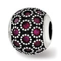 Sterling Silver Reflections Red Corundum Antiqued Bead (4.5mm Diameter Hole) - Thumbnail 0
