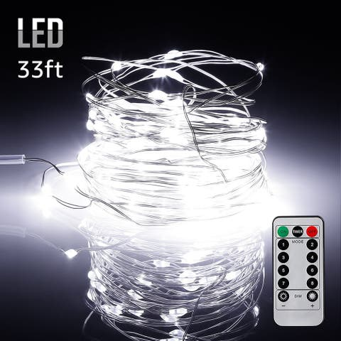 33ft 100LEDs String Lights Dimmable with Remote Control, Waterproof Copper Wire, Daylight