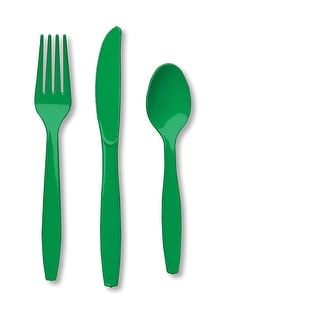 Touch Of Color Premium Cutlery Plastic Svc 8 24 Count Emerald Green