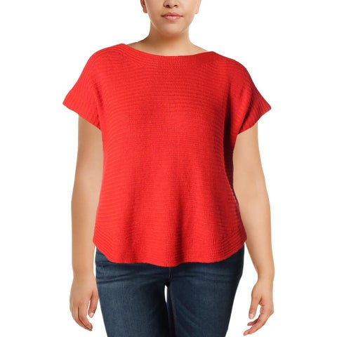 Lauren Ralph Lauren Womens Sweater Ribbed Trim Short Sleeves