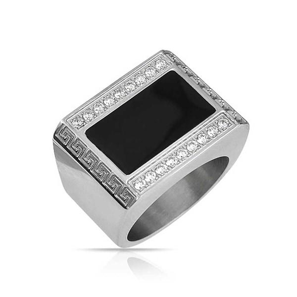 Rectangle Stainless Steel Silver Tone and Black Greek Key Pattern Cufflinks
