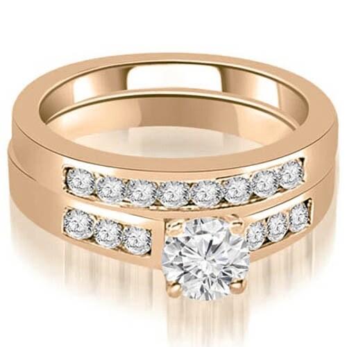 1.00 cttw. 14K Rose Gold Channel Set Round Cut Diamond Bridal Set