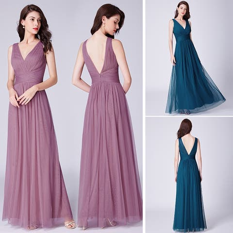 Ever-Pretty Women's V-Neck Ruched Bust Evening Prom Party Maxi Dress 07526