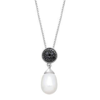 Freshwater Pearl Drop Pendant with Black Diamonds in Sterling Silver