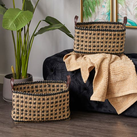 Brown Wood Natural Storage Basket (Set of 2) - 19 x 13 x 13