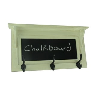 Vintage White Wood Framed Chalkboard Wall Hanging with Metal Hat Hooks