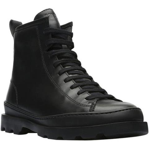 Camper Women's Brutus Combat Boot Black Smooth Leather