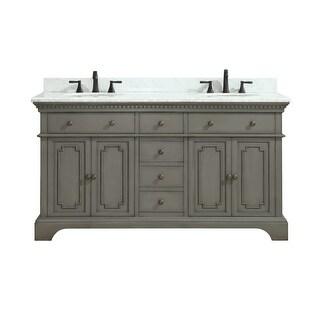 "Azzuri HASTINGS-VS60 Hastings 60"" Double Vanity Set with Wood Cabinet, Marble Va"