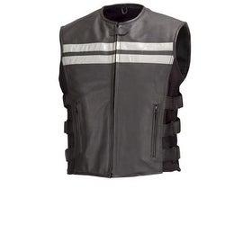 Men Cowhide Leather Motorcycle Biker Hi-Viz Vest Reflective Stripes Black MBV106