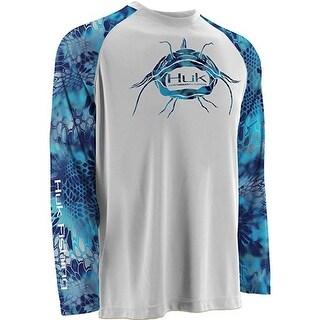 Huk Men's Kryptek Raglan Catfish KO XXXL White Performance Long Sleeve Shirt