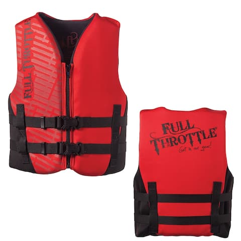 Full throttle youth rapid dry pfd red/black 50-90 lbs