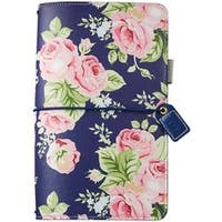 """Navy Floral - Color Crush Faux Leather Travelers' Planner 5.75""""X8"""""""