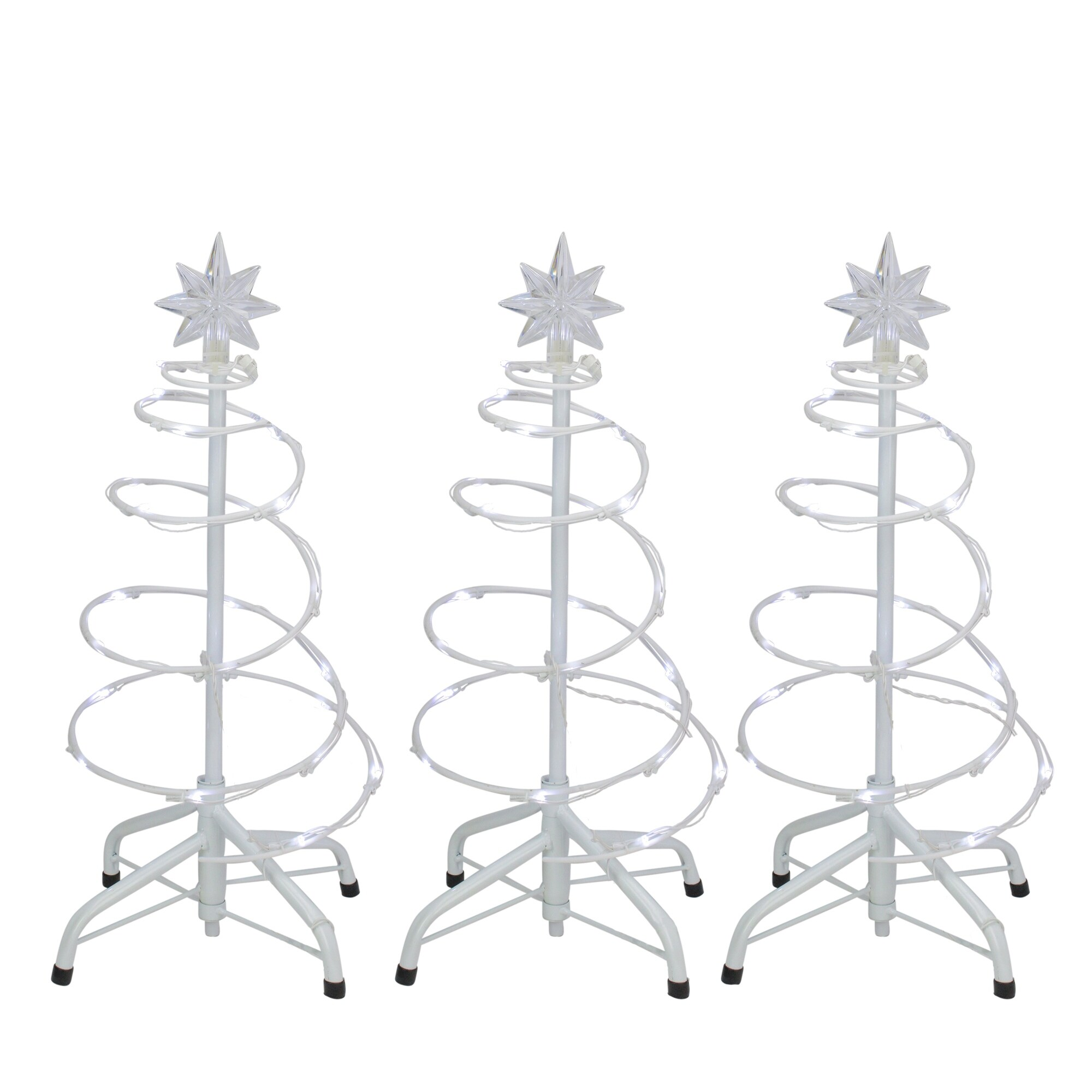 """Set of 3 LED Lighted Spiral Cone Walkway Christmas Trees Outdoor Decorations 18"""""""
