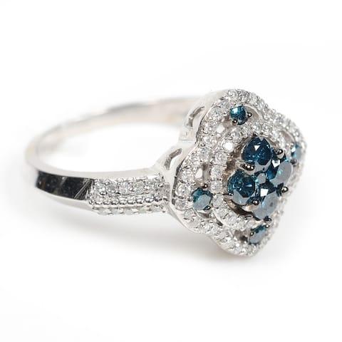 Valentine Gift Wedding Engagement Ring Sterling Silver Estate Diamond Jewelry