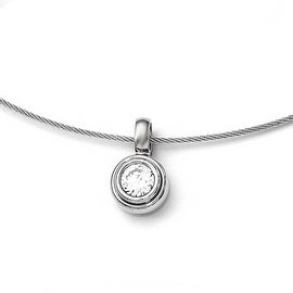 Chisel Titanium CZ Pendant with Polished Stainless Steel Wire Necklace - 17 in