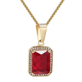 Red Ruby Glass Pendant Chain Hip Hop Gold Tone Stainless Steel Lab Diamond
