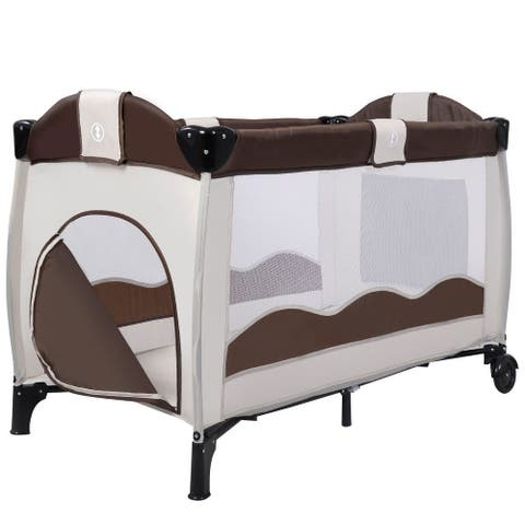 Baby Crib Playpen Playard Pack Travel Infant Bassinet Bed Foldable