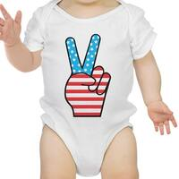 Peace Figure Sign American Flag Baby Bodysuit For Independence Day