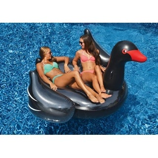 """75"""" Water Sports Inflatable Giant Black Swan Swimming Pool Ride-On Float Toy"""
